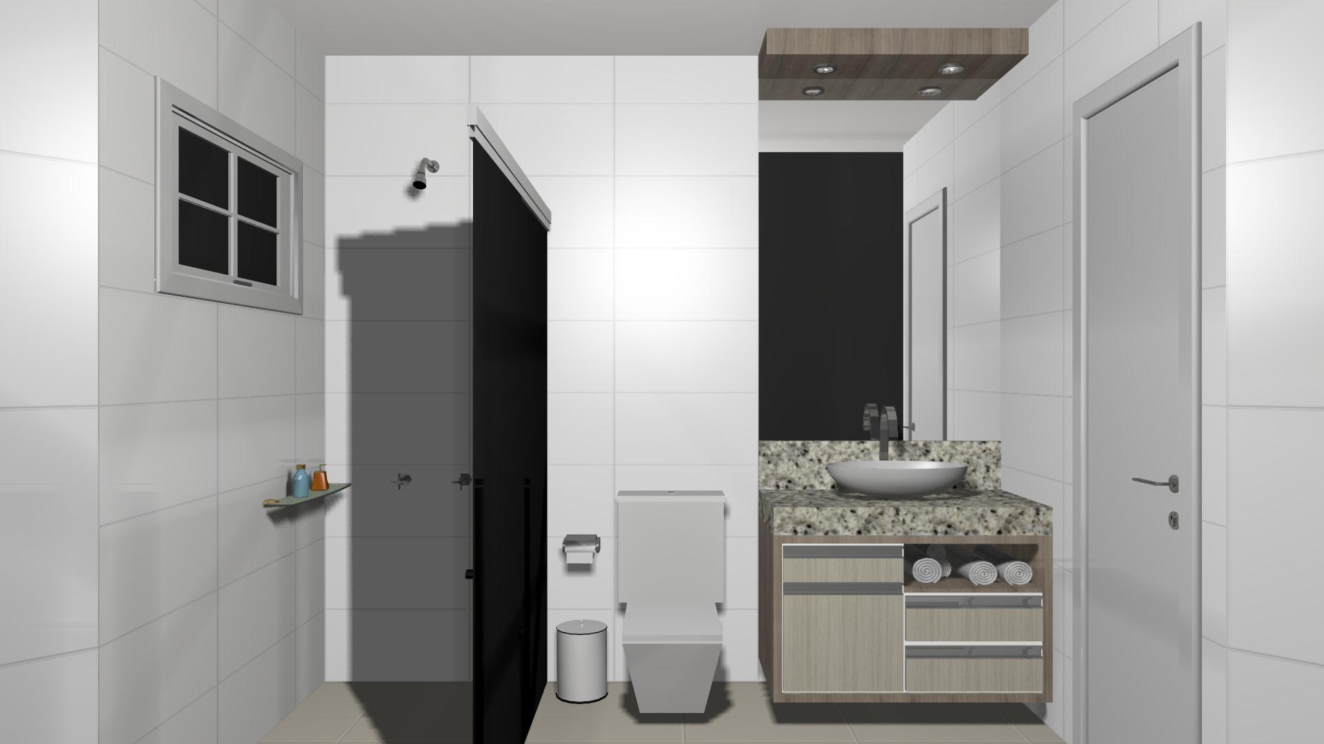 Projeto – Banheiro 2 Sul Móveis São Miguel do Iguaçu PR  #546A73 1920 1080