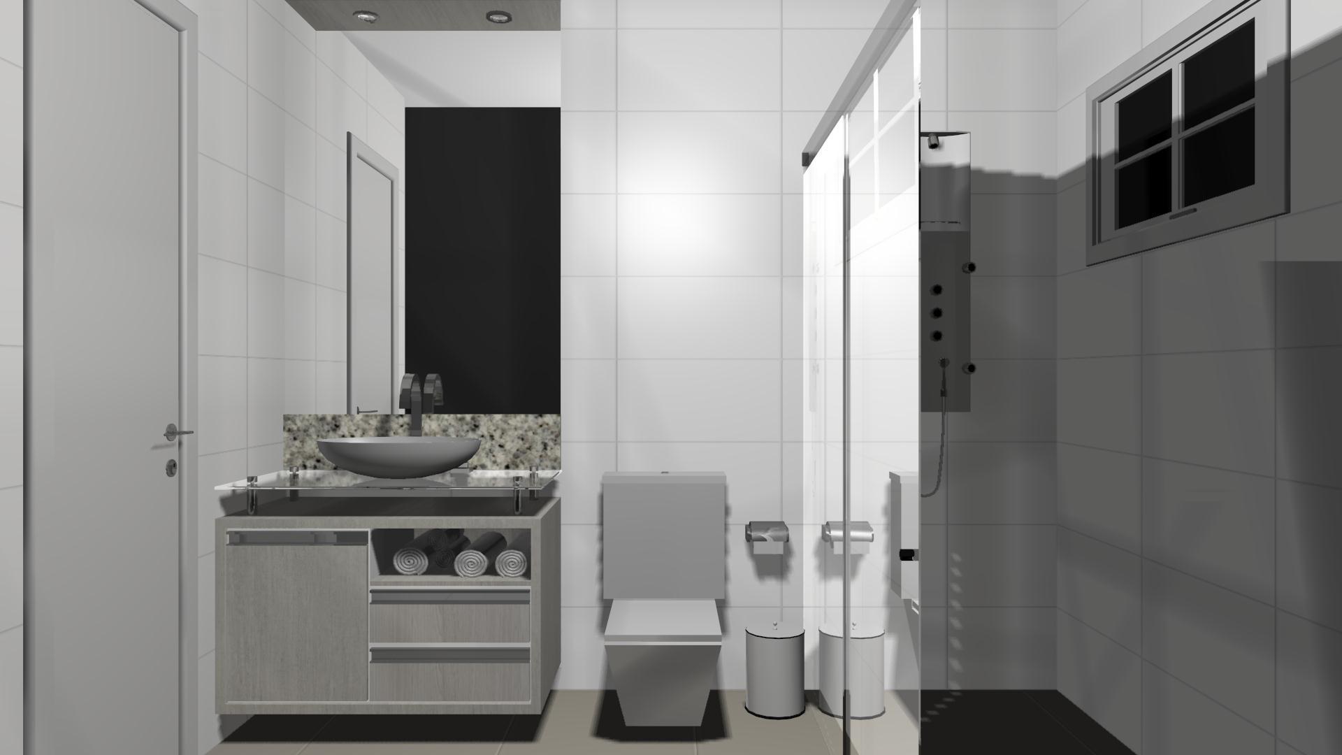 Projeto – Banheiro Sul Móveis São Miguel do Iguaçu PR  #686663 1920 1080