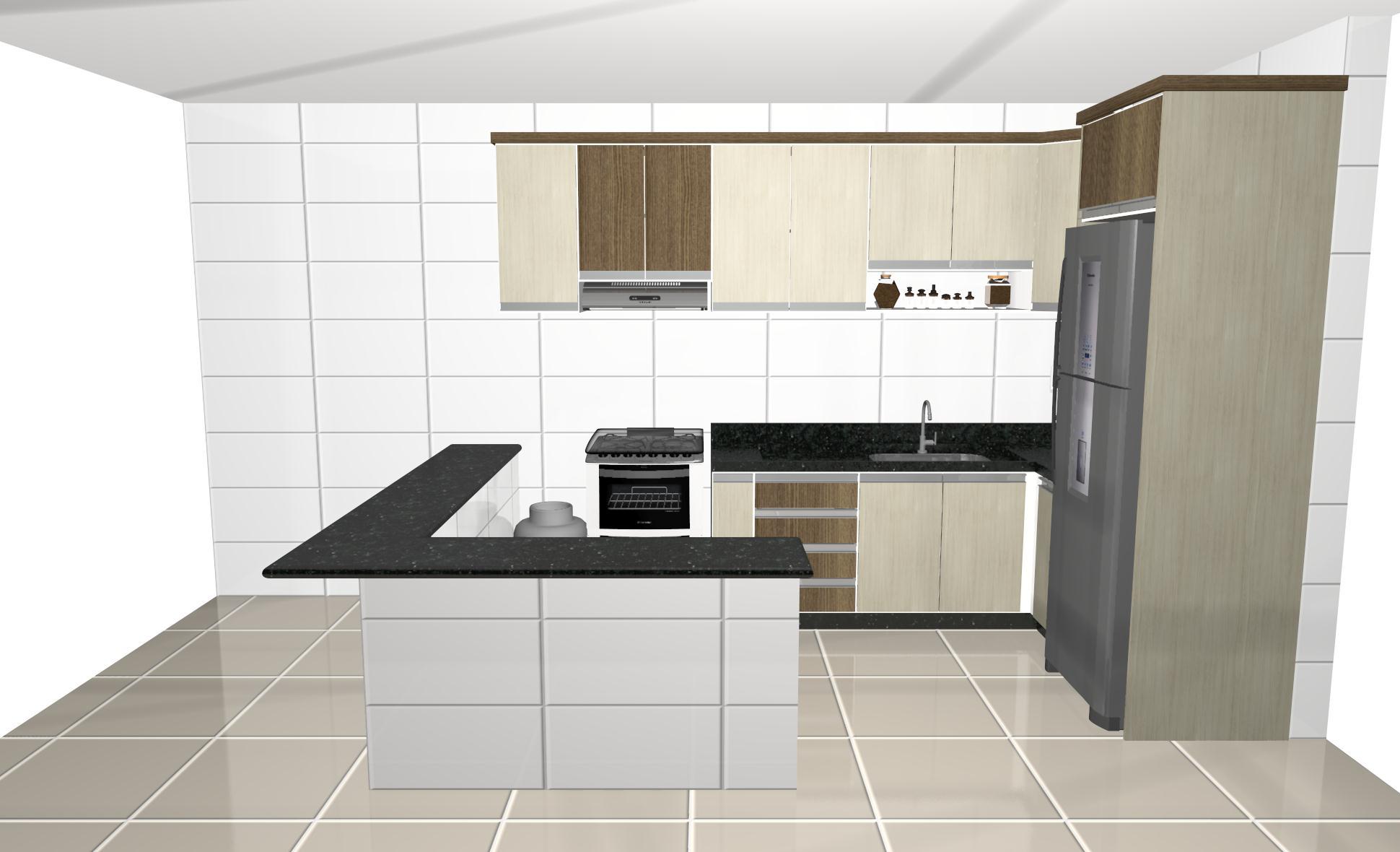 Projeto para Cozinha planejada Sul Móveis São Miguel do Iguaçu  #5D4B34 1940 1180